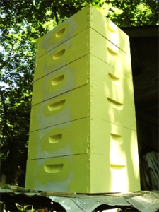 Yellow bee boxes being painted at Brookfield Farm Bees And Honey, Maple Falls, WA